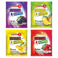 Assorted Flavors Grenades Chews 4 ct Pineapple, Banana, Lychee, Grape